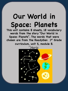 ReadyGen Our World in Space: Planets Vocabulary 1st Grade