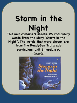 ReadyGen Storm in the Night Vocabulary 3rd Grade Unit 3 Module A