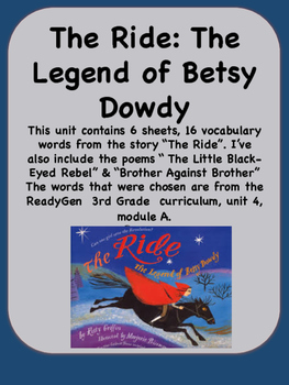 ReadyGen The Ride: The Legend of Betsy Dowdy Vocab Unit 4