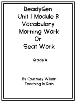 ReadyGen  Unit 1 Module B Vocabulary Packet