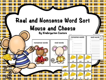 Real And Nonsense Word Sort -Mouse And Cheese