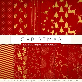 Red and Gold Christmas Digital Paper, scrapbook backgrounds