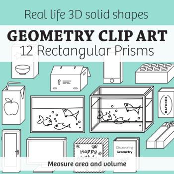 Real Life Objects Clip Art: 12 Regtangular Prisms 2D & 3D