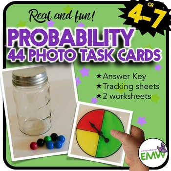 Probability Real Life Photo Task Cards and Worksheets