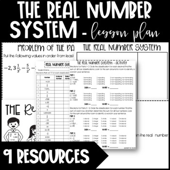 Real Number System Lesson - Graphic Organizer, Activities,