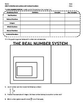 Real Number System Lesson and Work