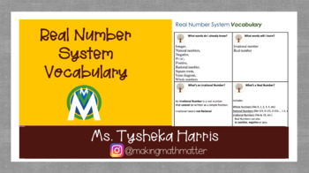 Real Number System Vocabulary