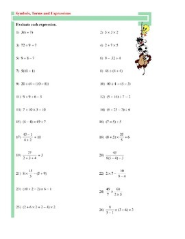 Real Numbers - Expressions - Order of Operations - Fractions