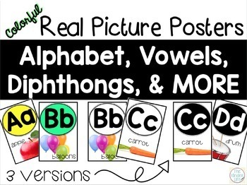 Classroom Alphabet Real Picture Posters + Vowels, Digraphs