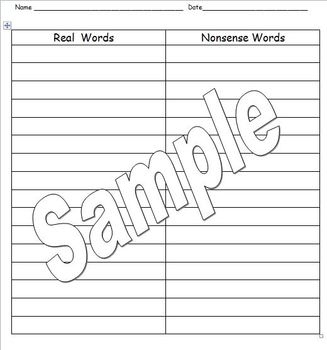 Real Word/Nonsense Word sorting mat.