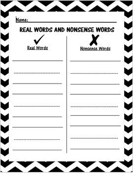 Real Words vs Nonsense Words Activity