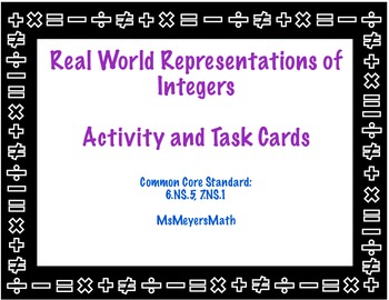 Real World Integer Representation Activity and Task Cards