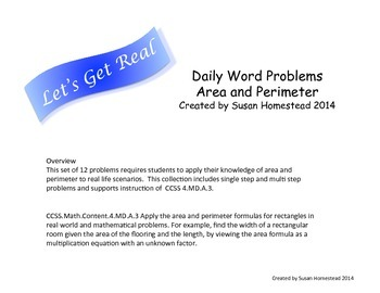 Real World Math Word Problems Area & Perimeter ~CCSS 4.MD.