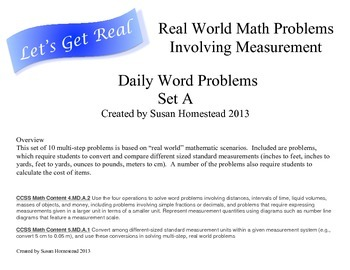 Real World Math Word Problems Set A - Measurement Conversi