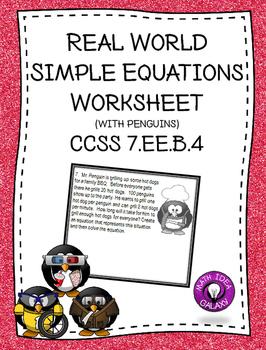 Real World Simple Equations Worksheet 7.EE.B.4