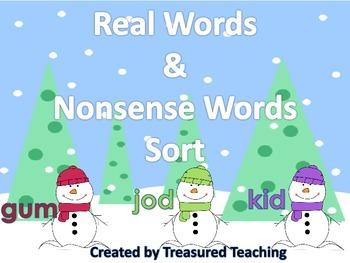 Real and Nonsense Word CVC Snowman Word Work Literacy Dail
