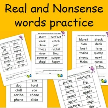 Real and Nonsense words practice sheets