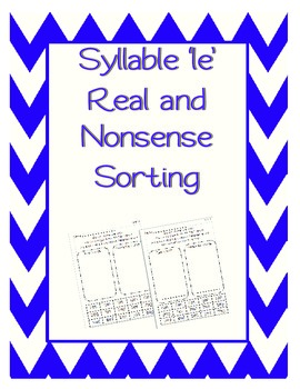 Real or Nonsense Sort - Syllable le