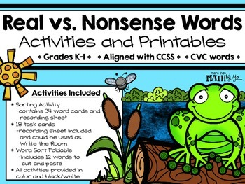 Real vs. Nonsense Words Activities and Printables