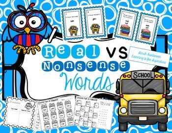 Real vs Nonsense Words back to school pack