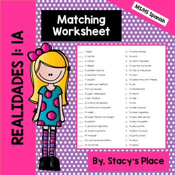 Realidades 1: 1A: Matching Worksheet: Afterschool