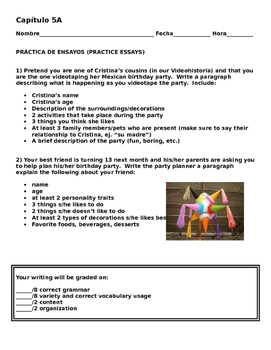Realidades 1 5A Videohistoria Essay Practice