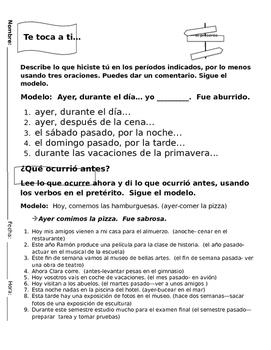 Realidades 1 Tema 8A Preterite Discussion Questions/Oral A