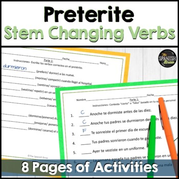 Realidades Spanish 2 6A : review packet preterite stem cha