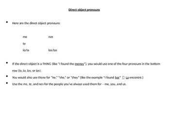 Realidades 2 Chapter 3A Grammar PowerPoint, D.O. pronouns,