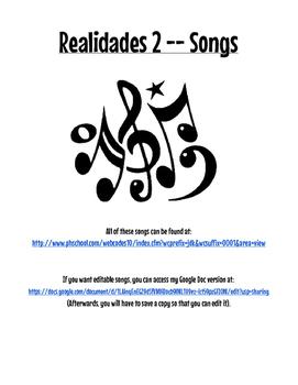 Realidades 2 Songs Cloze Worksheets