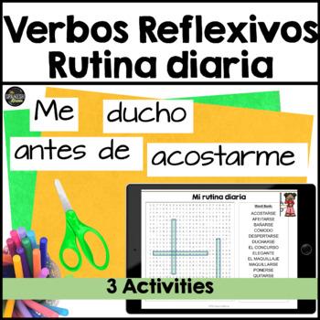 Realidades Spanish 2 cp. 2A 2B word search reflexive verbs