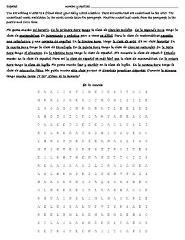 Realidades 2A Reading - Wordsearch - Translation - Spanish