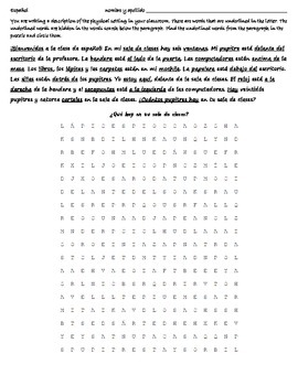 Realidades 2b Reading - Wordsearch - Translation - Spanish