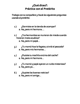 Realidades 3, Chapter 1-Speaking Practice Irregular Preterite