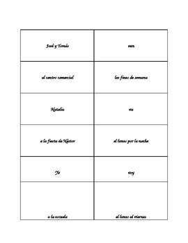 Spanish Realidades 1 4A Sentence Strips with IR
