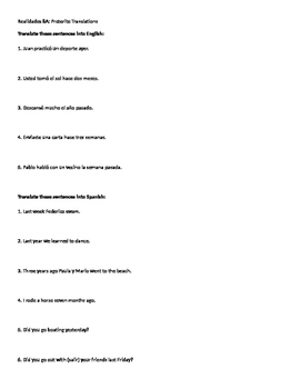 Realidades 8A Practice Translations Regular Preterite