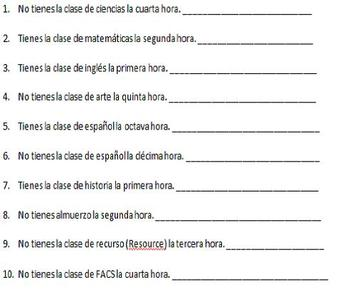 Spanish Realidades 1 2A Ordinal Number/Class Schedule Oral