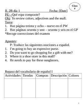 Realidades II, 2B Chapter Lesson Plans
