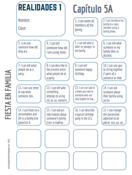 "Realidades Spanish 1 • ""I CAN"" statement stamp sheet • 5A /5B"