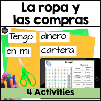 Realidades Spanish 1 cp. 7A 7B word search clothes ropa vocab