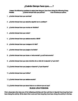 Realidades Spanish 2 1B Hace que + time expressions