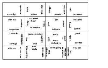 Realidades ch 4b vocabulary puzzle