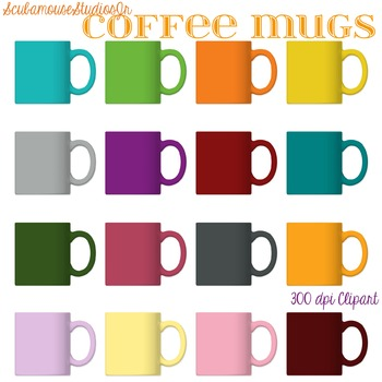 Realistic Coffee Mugs Clipart, 300 dpi Commercial Use Graphics
