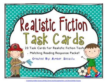 Realistic Fiction Genre Task Cards with Recording Sheets