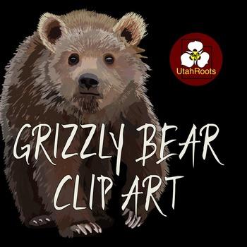 Bear Clip Art - Realistic Grizzly Bears