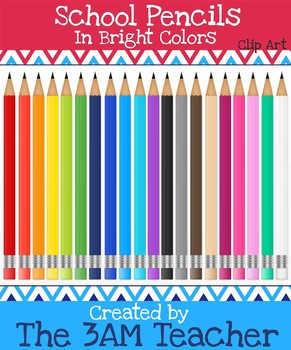 Realistic School Pencils in 20 Fun Colors - Clip Art for C