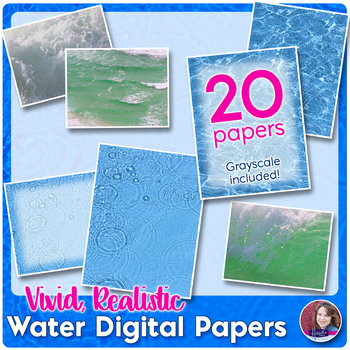 Realistic Water Digital Paper and Photos - Oceans and Pools