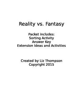 Reality vs. Fantasy Sorting Activity