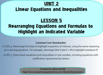 Rearranging Equations and Formulas to Highlight an Indicat