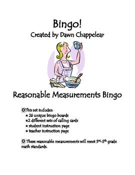 Reasonable Measurements Bingo